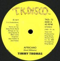 TIMMY THOMAS - AFRICANO : TK DISCO (US)