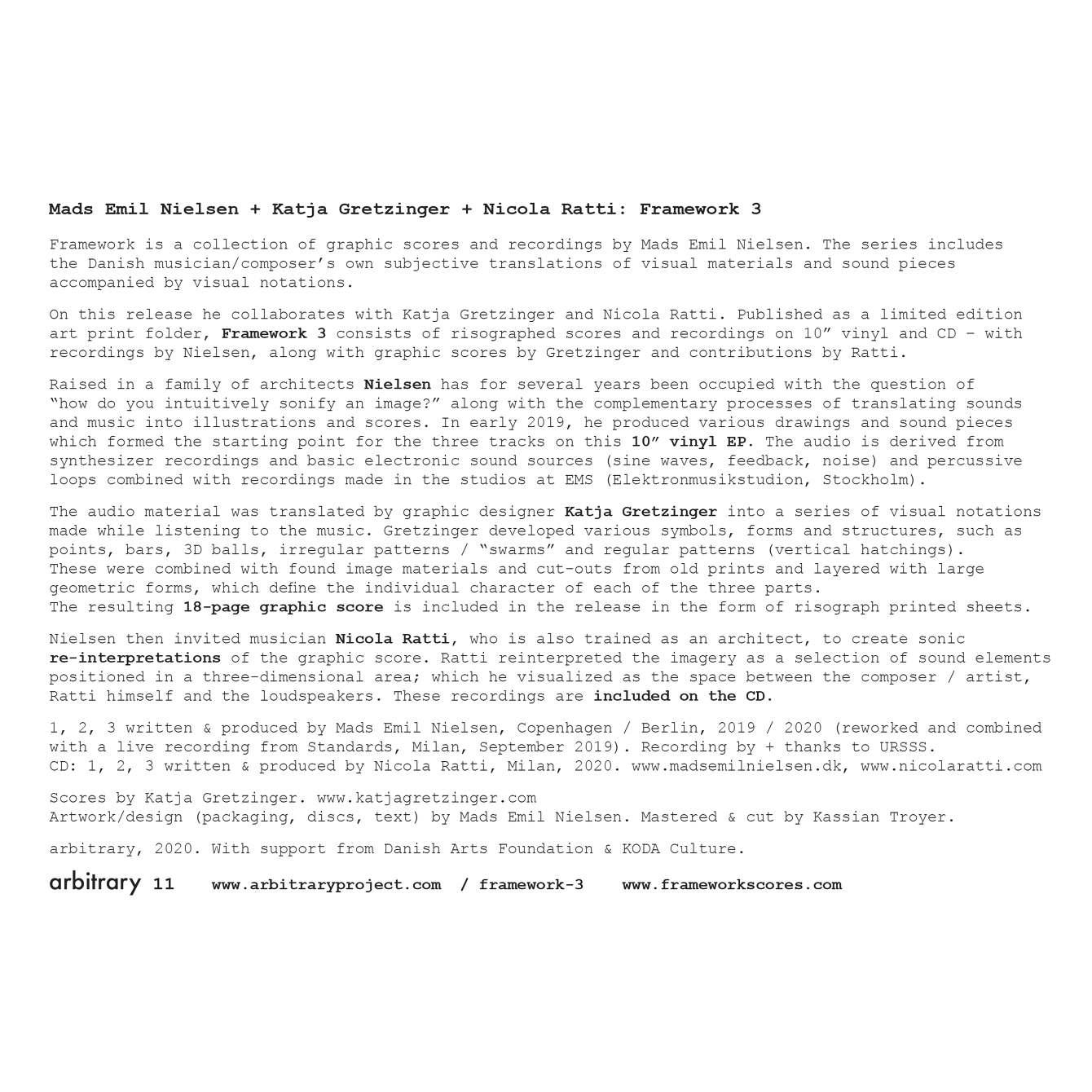 MADS EMIL NIELSEN, KATJA GRETZINGER, NICOLA RATTI - Framework 3 : 10inch+CD gallery 7